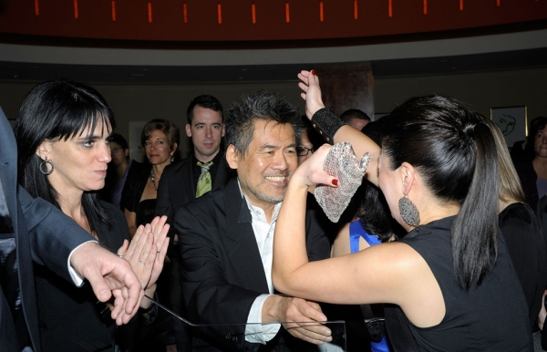 Playwright David Henry Hwang congratulates actress Jennifer Lim at the 'Chinglish' Broadway opening night after-party at the Brasserie 8 1/2 on Oct. 27, 2011 in New York City. (Ilya S. Savenok/Getty Images)
