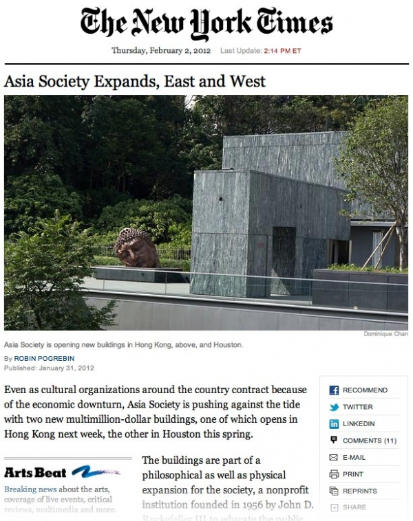An edited screenshot of Asia Society expansion coverage on NYTimes.com.