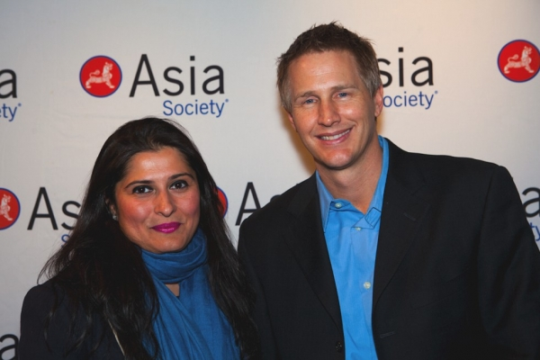 Asia Society Asia 21 Fellow Sharmeen Obaid-Chinoy (L) and Daniel Junge, directors of the Oscar-winning documentary short 'Saving Face' at Asia Society New York on March 5, 2012. (Suzanna Finley)