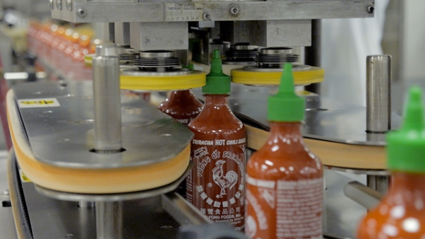 Production of Sriracha Hot Chili Sauce at Huy Fong Food's Rosemead, CA facility. (Griffin Hammond)