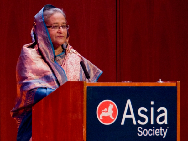 Sheikh Hasina, Prime Minister of Bangladesh, addresses Asia Society New York at the launch of the Climate Vulnerability Monitor on September 26, 2012.