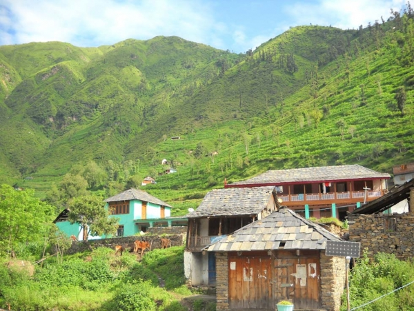 In this Odishsa village, both traditional (foreground) and more modern houses are scattered across the hills at heights up to 10,000 ft. (Sunil Kumar)