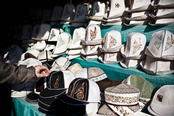 A display of the traditional Kyrgyz hat, or kalpak. (Sue Anne Tay)