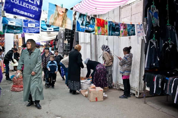Plastic bags are widely used and sold in bazaars across Kyrgyzstan. (Sue Anne Tay)