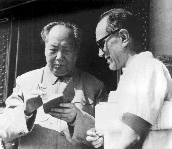 Mao Zedong signs Sidney Rittenberg's copy of the Little Red Book at a gathering of Party leaders during the Cultural Revolution. (Personal Collection of Sidney Rittenberg)