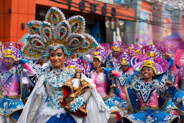 Decked out in glittering costumes for the Feast of the Santo Niño in Cebu, Philippines on January 15, 2012.  (Jun Pinili/Flickr)