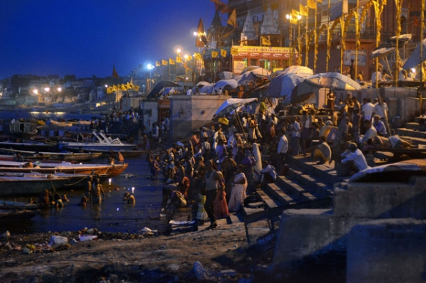 People start their day by the water in Varanasi, India on July 2, 2012. (Shivika Sinha)