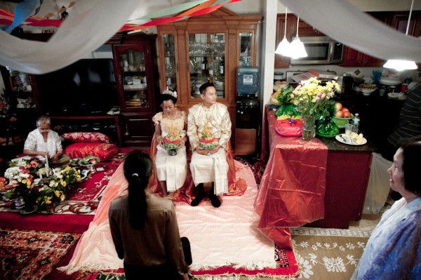 Wedding of Molly Sopuok, 38, and Todd Prom, 38, in a Cambodian home, The Bronx, N.Y. (Pete Pin)