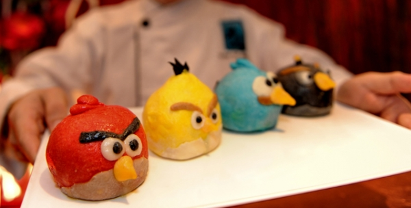 Angry Birds mooncakes based on the worldwide hit game by Finnish entertainment media company Rovio are displayed during a preview at a restaurant in Singapore on July 3, 2012. (Roslan Rahman/AFP/GettyImages)