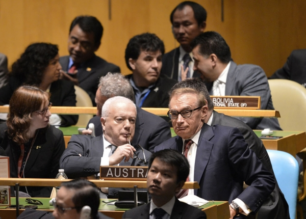 Australia Foreign Minister Bob Carr (R) during the United Nations General Assembly session October 18, 2012 before the vote for non-permanent membership of the UN Security Council for the years 2013-2014 in New York. (Stan Honda/AFP/Getty Images)