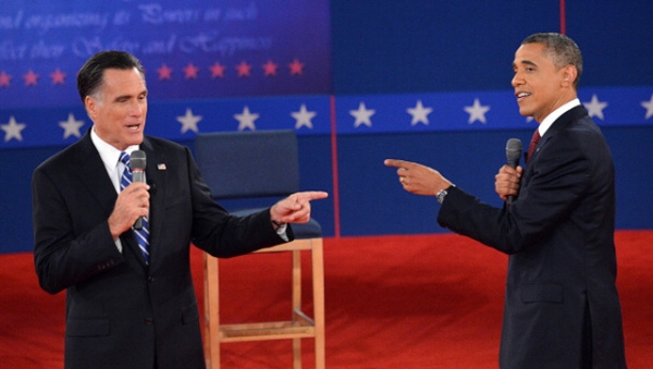 U.S. President Barack Obama and Republican Presidential nominee Mitt Romney debate on October 16, 2012 at Hofstra University in Hempstead, New York. (Stan Honda/AFP/Getty Images)
