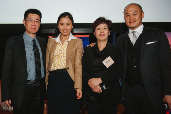 L to R: Zhang Zhao, President Le Vision Pictures; Ivy Zhang, Vice Chairman, Galloping Horse; Zhao Yifang, Director and General Manager, Zhejiang Huace Film & TV Co; Peter Shiao, CEO, Orb Media Group. (Molly Ann/Asia Society)