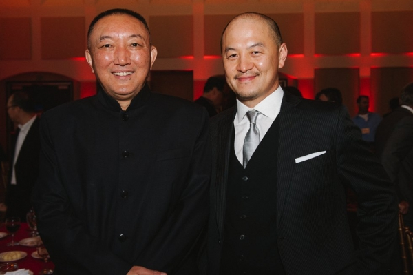 Han Sanping (L), Chairman, China Film Group; Peter Shiao, CEO, Orb Media Group. (Molly Ann/Asia Society)