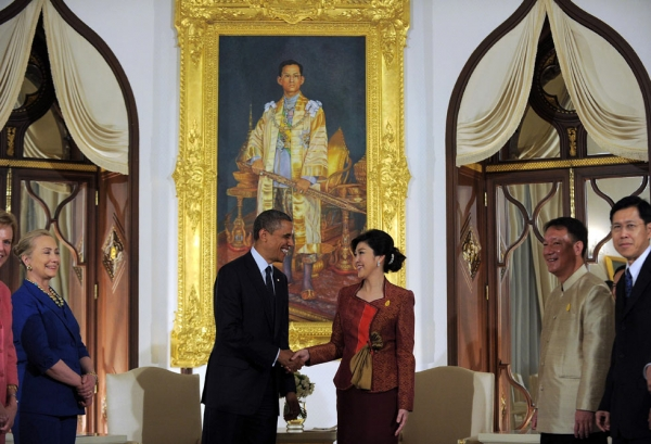 U.S. President Barack Obama shakes hands with Thai Prime Minister Yingluck Shinawatra before a bilateral meeting at the Thai Government House in Bangkok on Nov. 18, 2012. (Jewel Samad/AFP/Getty Images)