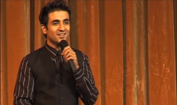 Actor and comedian Vir Das performing a stand-up skit in India.