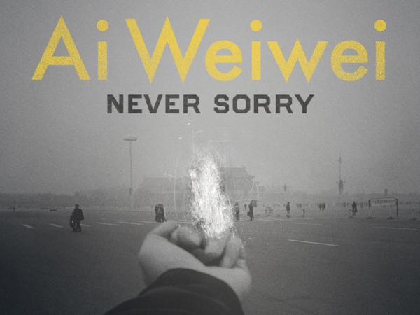 "A poster from Alison Klayman's documentary on Chinese artist Ai Weiwei, ""Ai Weiwei: Never Sorry."""