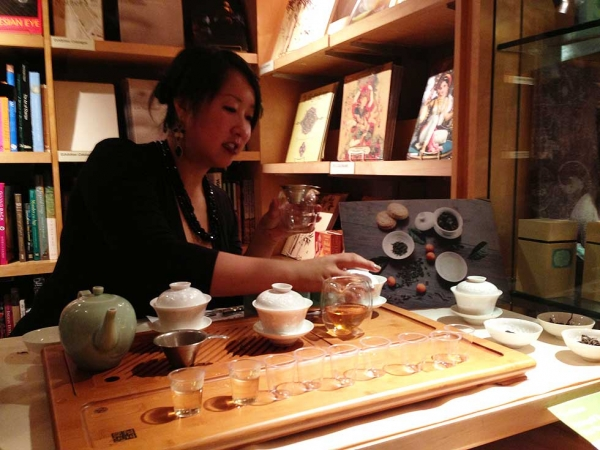 A Chinese tea tasting hosted by Tranquil Tuesdays at AsiaStore was a popular attraction at the event. (Asia Society)