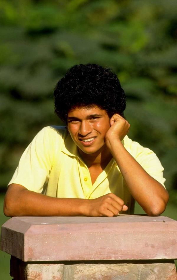 The teenage Sachin Tendulkar in Lahore, Pakistan in October 1989. (Ben Radford/Allsport/Getty Images)