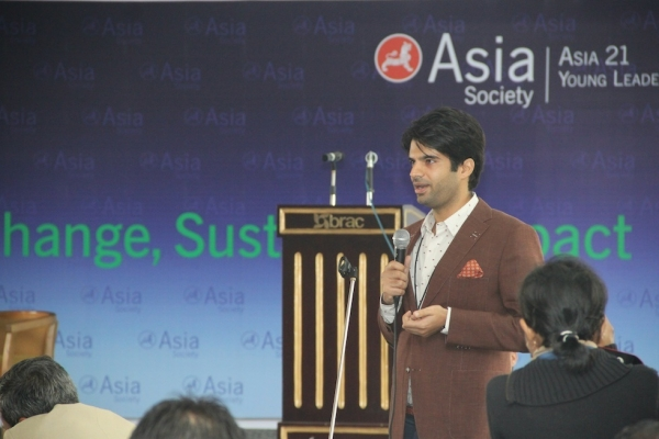 Adnan Malik speaks at the Asia 21 Young Leaders Program Summit in December, 2012 in Dhaka, Bangladesh. (Asia Society)