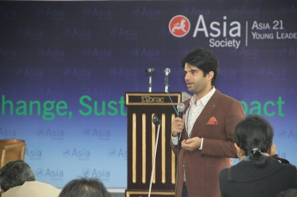 Adnan Malik speaks at the Asia 21 Young Leaders Program Summit in December, 2012. (Asia Society)