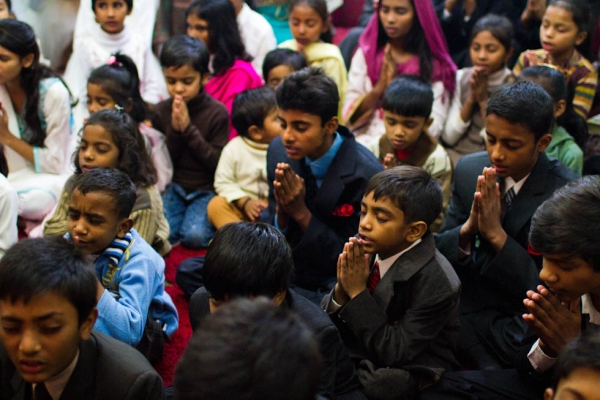 The children, on the other hand, were taught to pray as Western Christians do, with their palms touching. Dhala United Methodist Church, Lahore. (Nushmia Khan)