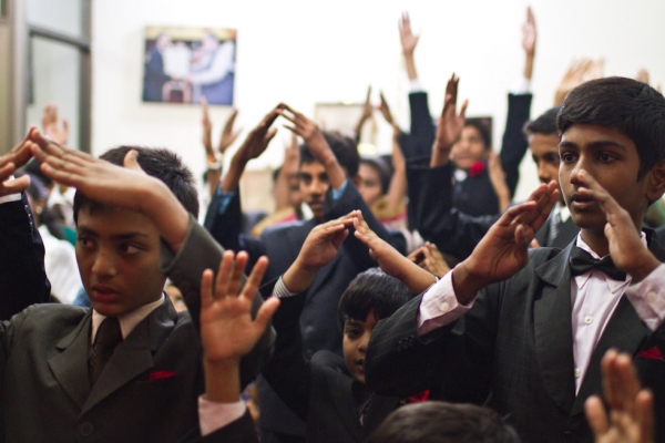"During Sunday School, the children were taught to perform the song ""Joy to the World."" Dhala United Methodist Church, Lahore. (Nushmia Khan)"