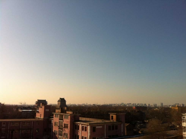 Looking south toward Beijing's Bell and Drum Towers from north of the city's second ring road on January 4, 2013. (David Green/China Air Daily)