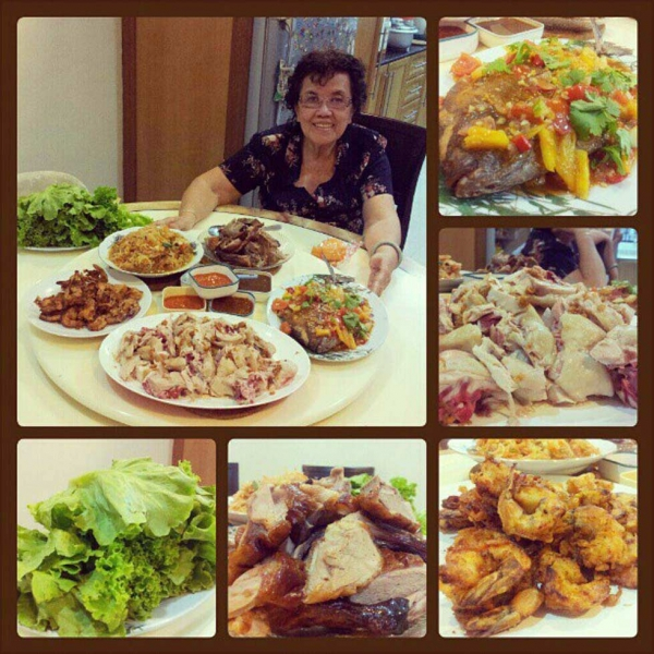 "1. ""Masterchef Gramma and her masterpiece meal for our Chinese New Year reunion dinner."" (shanief)"