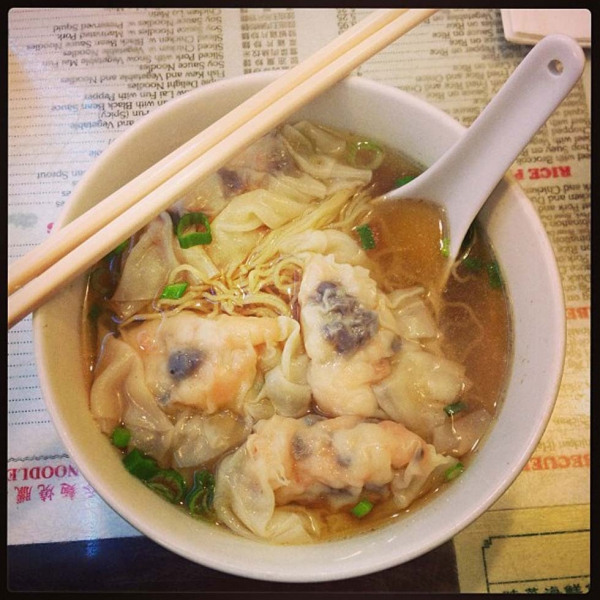 "43. ""Chinese New Year lunch with the parents. Shrimp dumpling noodle soup goodness."" (hungryeditor)"