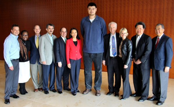 Former NBA star Yao Ming and the Asia Society Texas Center staff. (Douglas Bolduc/Asia Society)