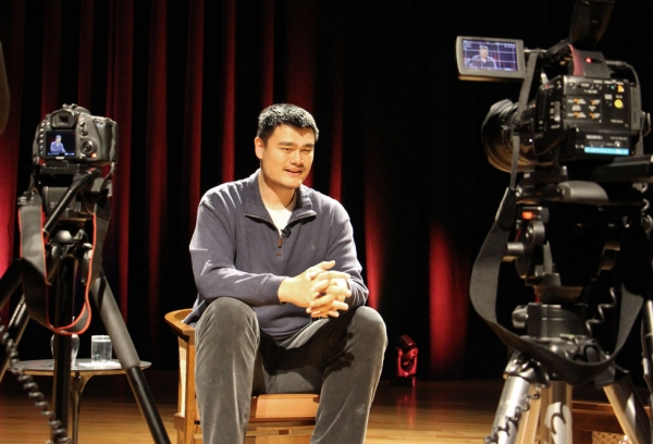 Yao Ming during his Asia Society interview. (Douglas Bolduc/Asia Society)
