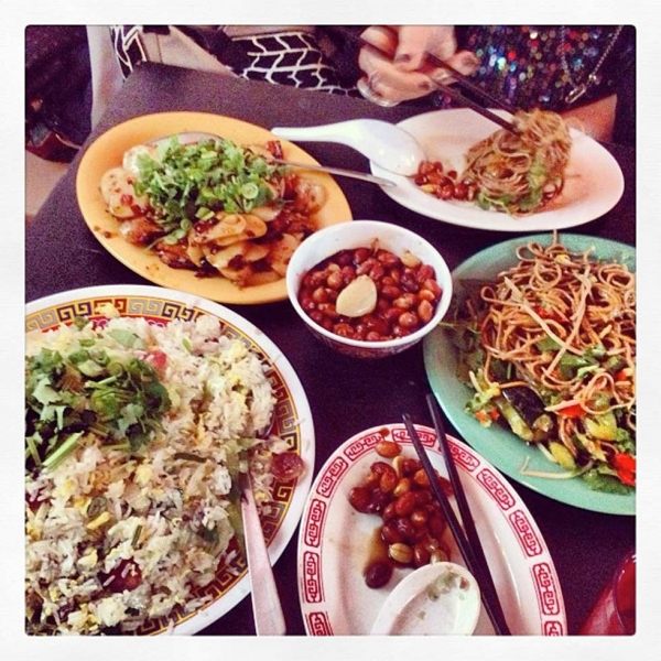 "47. ""Let the #cny feasting continue w/ @jennileetweets at @Missionstfood. Salt cod fried rice, thrice cooked bacon, Beijing vinegar peanuts & spicy buckwheat noodles."" (hungryeditor)"