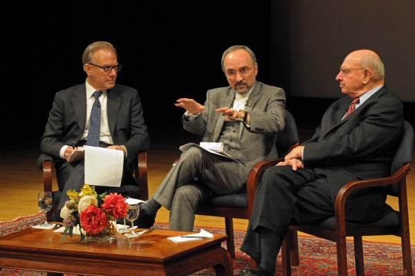 L to R: David Ignatius, Amb. Mohammad Khazaee, and Amb. Thomas Pickering at Asia Society New York on Feb. 20, 2013. (Elsa Ruiz/Asia Society)