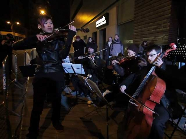 "Jason Yang and fellow musicians perform the theme to HBO's ""Game of Thrones"" in New York City on February 18, 2013. (HBO)"