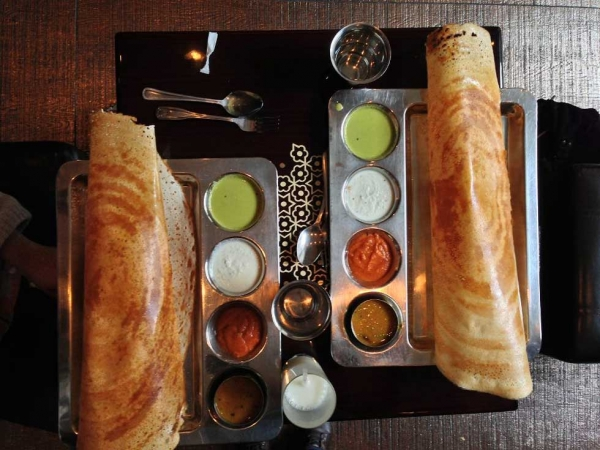 Masala dosas at Saravana Bhaavan in New York City. (Pei Ketron/penelopesloom.com)