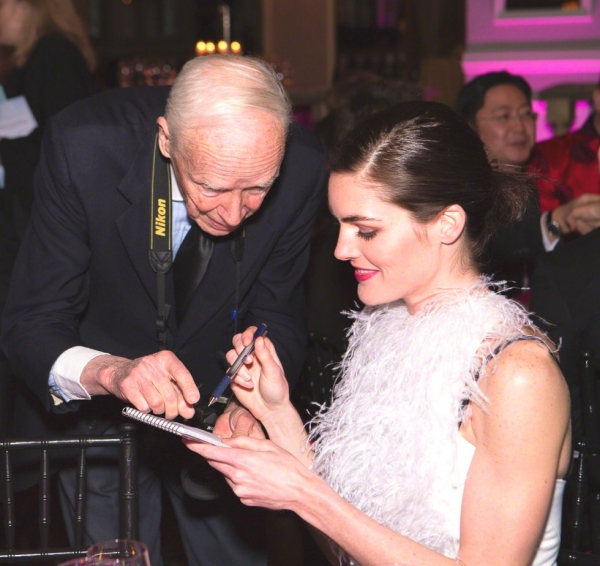 New York Times photographer Bill Cunningham (L) and Hilary Rhoda. (Bennet Cobliner/Asia Society)