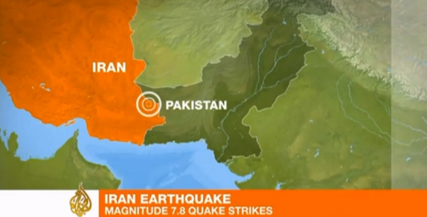 Al Jazeera's coverage of the Iran earthquake shows a map of the affected area, near the country's border with Pakistan.