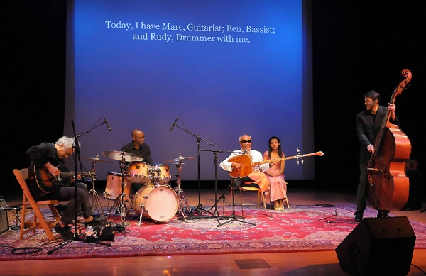 L to R: Guitarist Marc Ribot, drummer Rudy Royston, production assistant Va Chamnann and bass player Ben Allison.