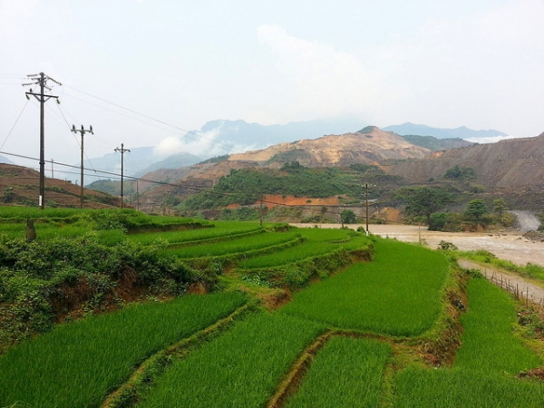 Deep green rice grass cover up staggering slops of a hill in Sinquyen, Vietnam on April 22, 1013. (Jeremy Weate/Flickr)