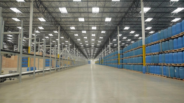 Inside the new Huy Fong Foods factory in Irwindale, California, with 480,000 square feet of warehouse. (Griffin Hammond)