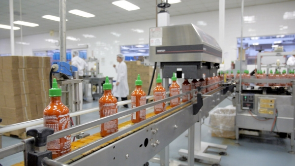 Production of Sriracha Hot Chili Sauce at Huy Fong Food's Rosemead, CA building. (Griffin Hammond)