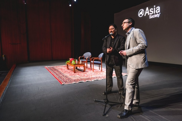 Samuel Jamier (L), Co-Director of New York Asian Film Festival, and Goran Topalovic (R), Executive Director of New York Asian Film Festival, give the opening remarks for Jackie Chan at Asia Society headquarters in New York. (C. Bay Milin/Asia Society)