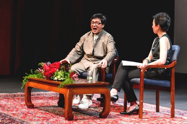 Jackie Chan speaks with La Frances Hui at Asia Society headquarters in New York. (C. Bay Milin/Asia Society)