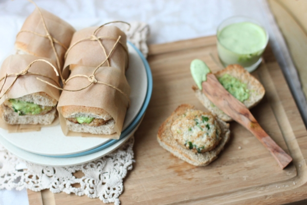 "A sampling of dishes from Shayma Saadat's blog ""The Spice Spoon."" Shown here: chicken kebab sliders with mint aïoli. (Shayma Saadat)"