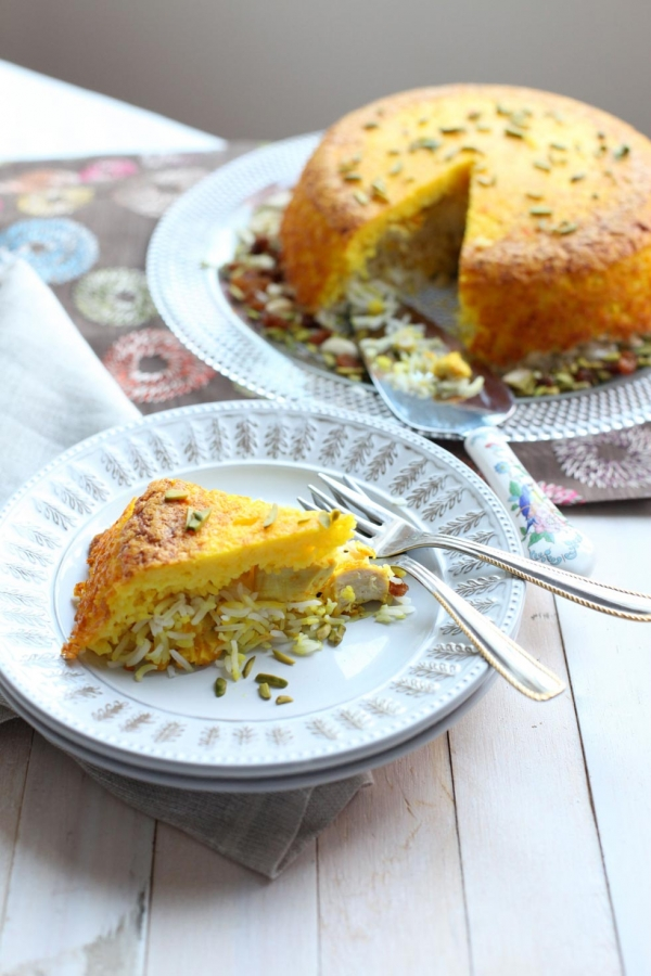 Tahchin, Persian rice timbale with saffron-poached chicken. (Shayma Saadat)