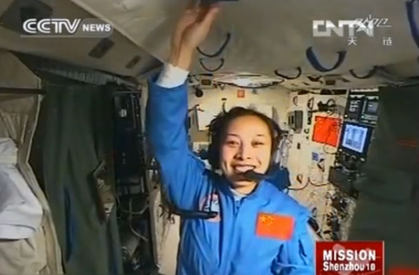 China's second female astronaut, Wang Yaping, was the chief course speaker during Shenzhou-10's live lecture from space on June 20, 2013. (CCTVcomInternational)