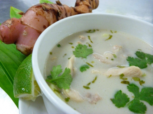 Thai chicken and galangal soup (Tom Kha Gai) — a classic Thai soup made from chicken stock, Suva-grown fresh galangal and fresh coconut cream, with bamboo shoots and baby corn. (lanceseeto.com)