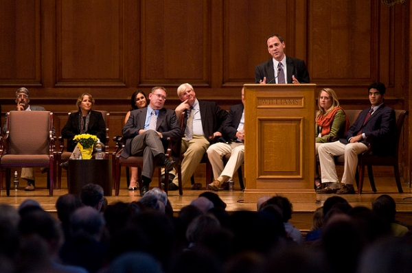 President Adam Falk's introduction to the Williams College community on September 30, 2009. (Marco Sanchez/Flickr)