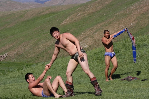 "Bökh is the folk wrestling style of Mongols in Mongolia, Inner Mongolia and other regions. Bökh means ""durability."" (istolethetv/Flickr)"