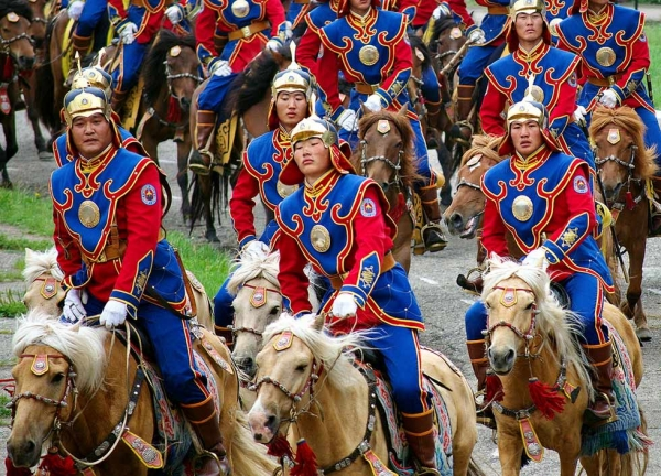 Soldiers participate in the annual Naadam opening ceremony parade in Ulaanbaatar. (scott.presly/Flickr)